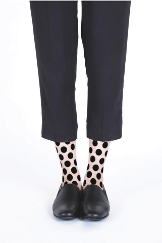 BLACK DOT FLOCKED SOCKS