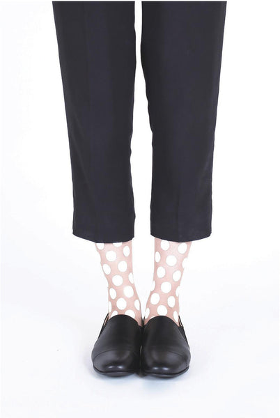 WHITE DOT FLOCKED SOCKS