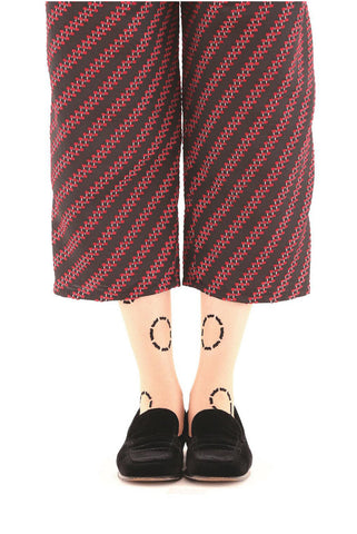 BLACK CIRCLE FLOCKED SOCKS