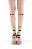 BLACK MORSE CODE FLOCKED TIGHTS