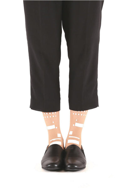 WHITE MORSE CODE FLOCKED SOCKS