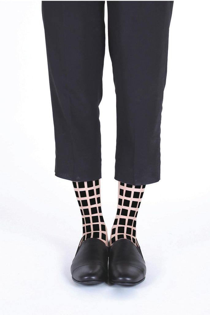 BLACK SQUARE FLOCKED SOCKS