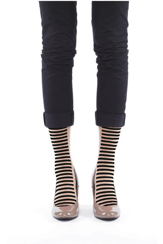 BLACK STRIPE FLOCKED SOCKS
