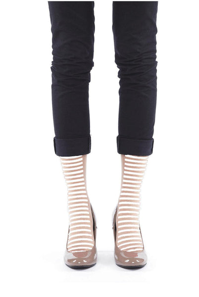 WHITE STRIPE FLOCKED SOCKS