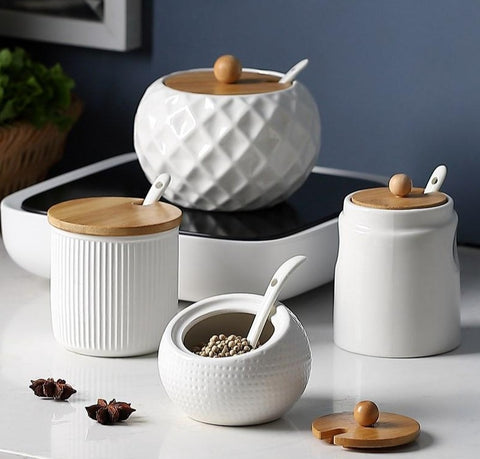 Ceramic Wood Cover Seasoning Jar
