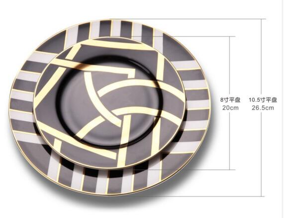 Gold Grid Porcelain Plates