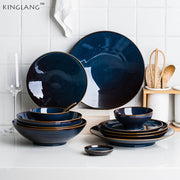 Dim Deep Blue Color Ceramic Tableware