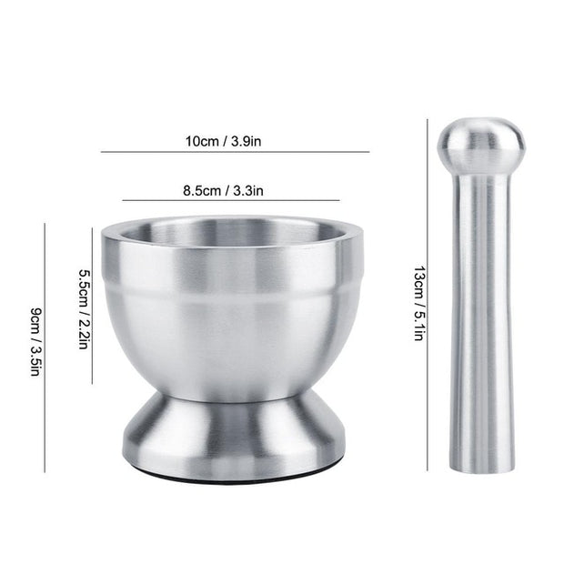 Brushed Stainless Steel Mortar and Pestle