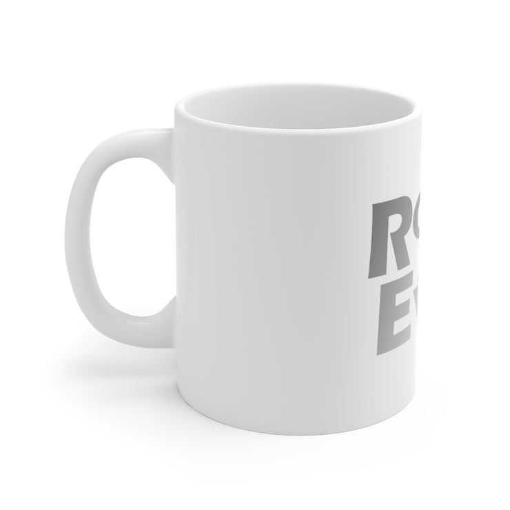 Root of All Evil Mug Silver Letters 11oz