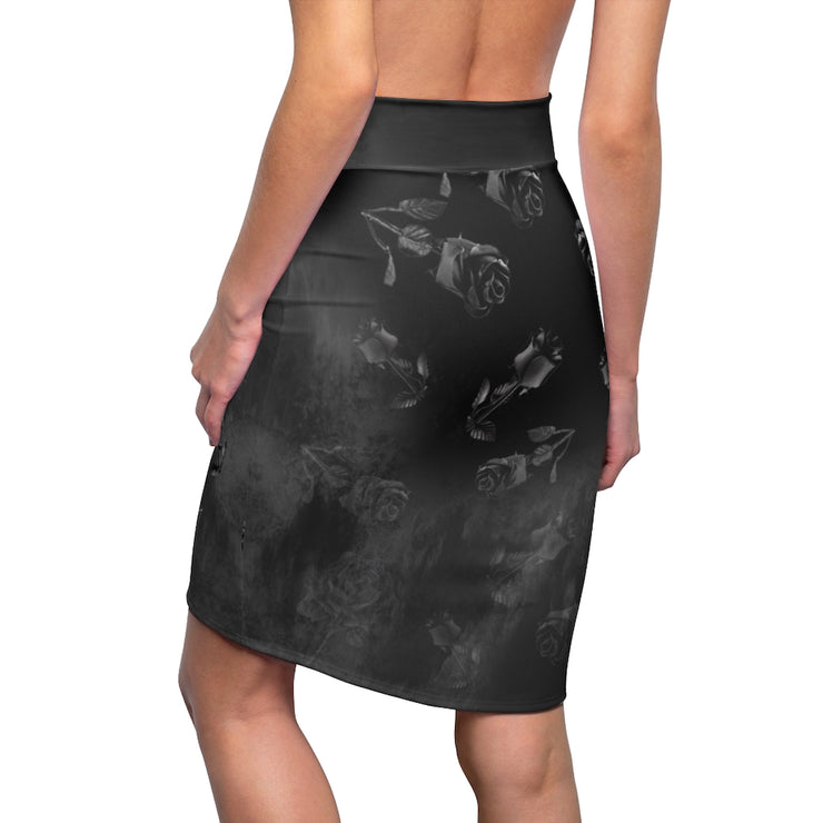Black Roses Pencil Skirt