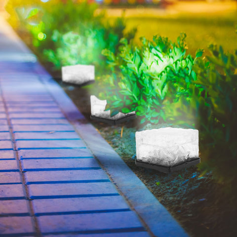Solar Garden Glass Cube Path Light