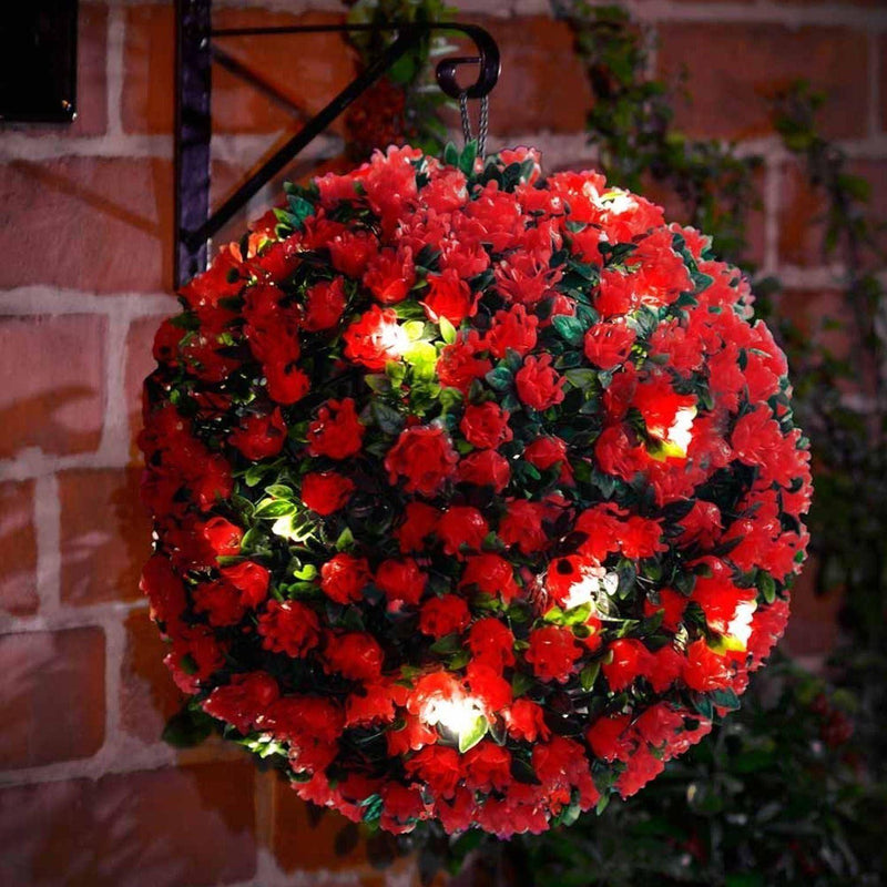 Red Solar Topiary Balls