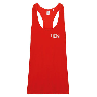 Ibiza Club News White Embroidered ICN Logo Men's Muscle Vest