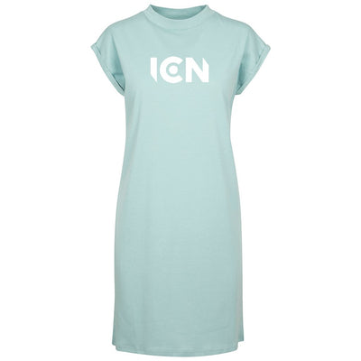 Ibiza Club News White ICN Logo Women's Turtle Neck Dress