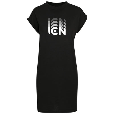 Ibiza Club News White ICN Trail Logo Women's Turtle Neck Dress