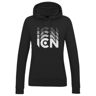 Ibiza Club News White ICN Trail Logo Women's Hooded Sweatshirt