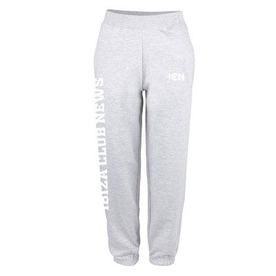 Ibiza Club News White ICN Logo and Text Cuffed Sweatpants