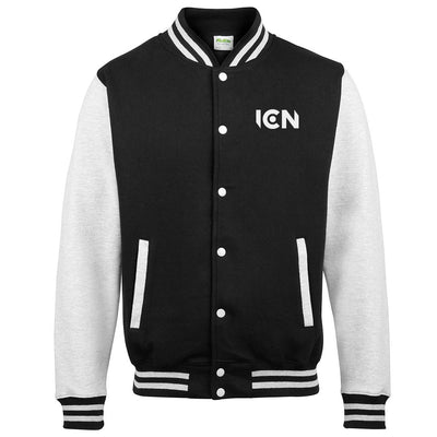 Ibiza Club News White ICN and Trail Logo Print Varsity Jacket