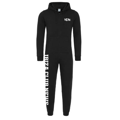 Ibiza Club News White 3 Print Logo Black Adult Onesie