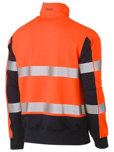 Bisley Taped Hi Vis Stretchy Fleece Zip Pullover