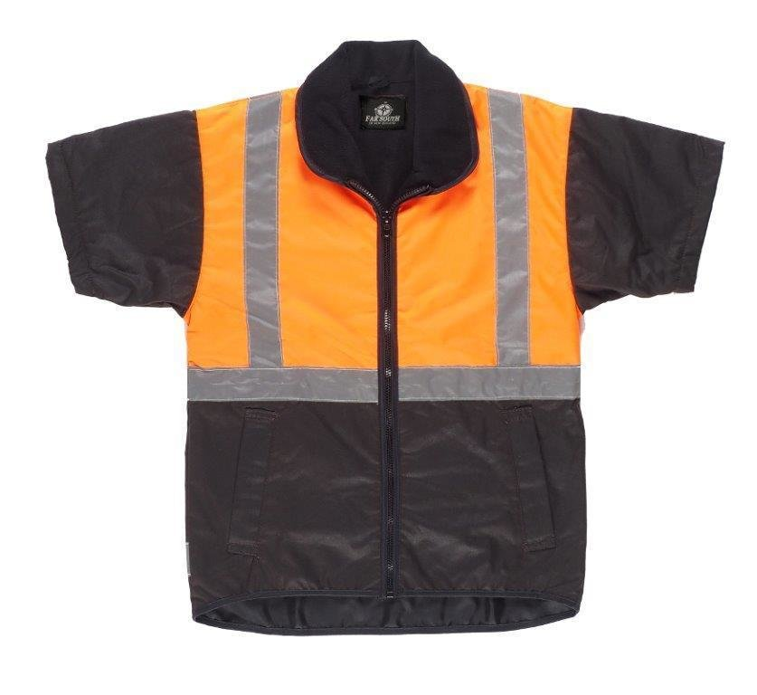 Oilskin Vest TTMC Fluro Orange with Reflective Tape
