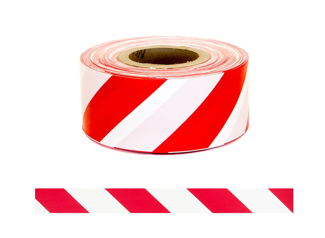 Barrier Warning Tape - Red/White Striped 250m x 75mm