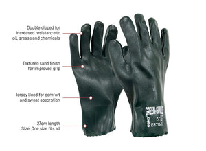 PVC Glove Green Double Dipped 27cm with Interlock Liner