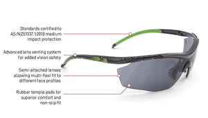 X2 Safety Spec anti-fog anti-scratch Smoke Lens