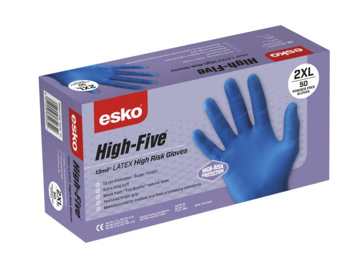 HIGH FIVE High Risk latex disposable gloves Purple Box