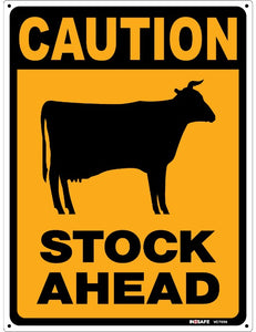 Caution Stock Ahead Sign - 600x450 PVC