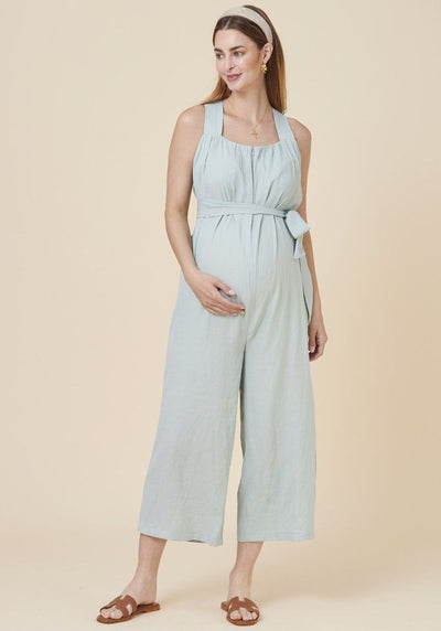 Crinkled Nursing Jumpsuit jumpsuit LIV Maternity