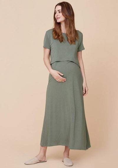 Flap Jersey Nursing Dress dress LIV Maternity