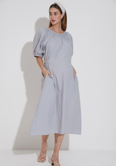 Puff Sleeve Poplin Dress dress LIV Maternity