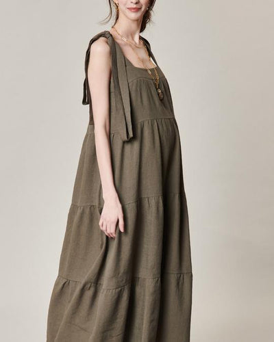 Strappy Linen Maxi Dress dress LIV Maternity