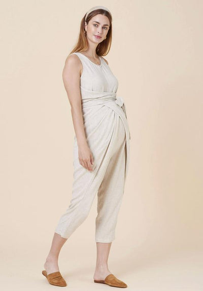 Wrap Linen Nursing Jumpsuit jumpsuit LIV Maternity