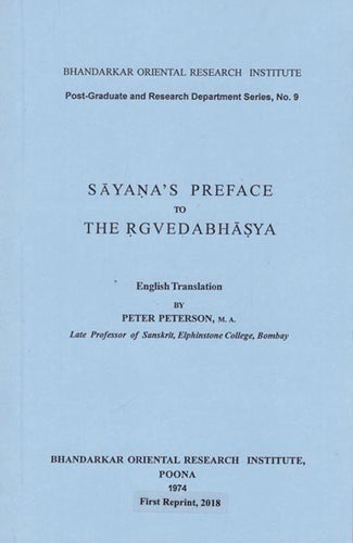 Sayana's Preface to The Rgvedabhasya (An Old and Rare Book)