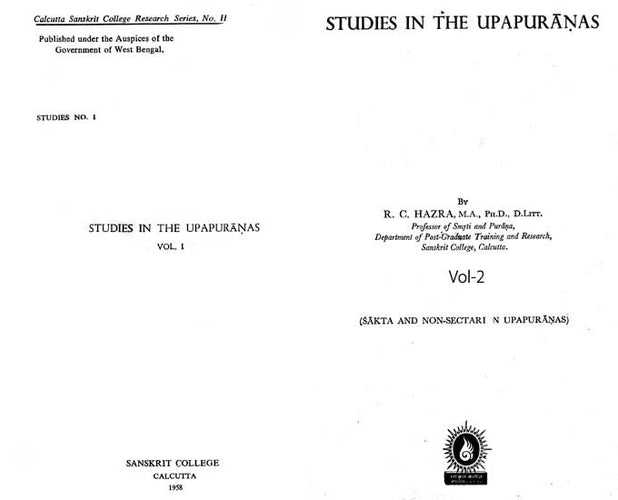 Studies in the Upapuranas- An Old and Rare Book: Pinholed (Set of 2 Volumes)