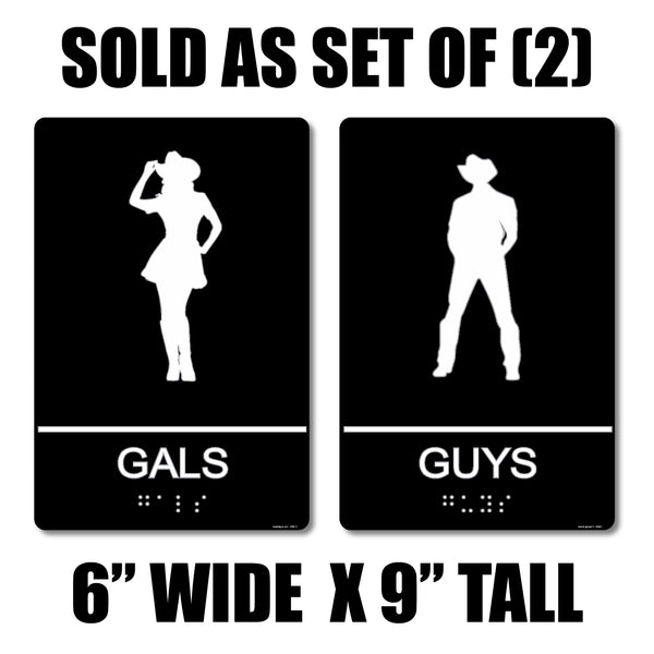 "ADA Compliant ""Honky Tonk"" - Gals & Guys Country Themed Restroom Signs"