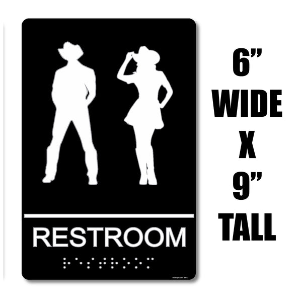 "ADA Compliant ""Honky Tonk"" - Country Themed Unisex Restroom / Bathroom Sign"