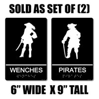 "ADA Compliant ""Pirates"" - Wench & Pirate Themed Restroom Signs"