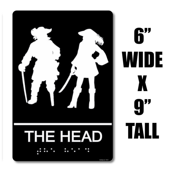 "ADA Compliant ""Pirates Head"" - Nautical Themed Unisex Restroom / Bathroom Sign"