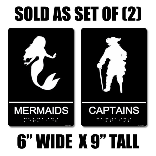 "ADA Compliant ""Nautical"" - Mermaid & Captain Themed Restroom Signs"