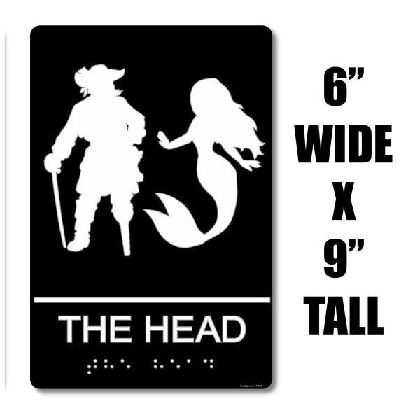 "ADA Compliant ""Captains Head"" - Nautical Themed Unisex Restroom / Bathroom Sign"