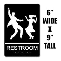 "ADA Compliant ""50's Sock Hop"" - Dancing Themed Unisex Restroom / Bathroom Sign"