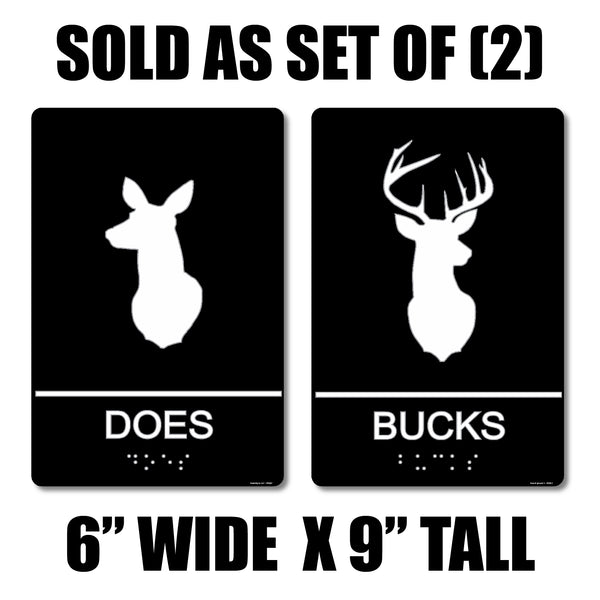 "ADA Compliant ""Does & Bucks"" Deer Hunter Country Theme Restroom / Bathroom Signs"