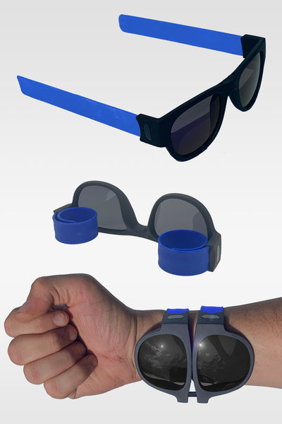 Folding Sunglasses with Slap Bracelet Arms - BLUE ARMS / POLARIZED LENSES