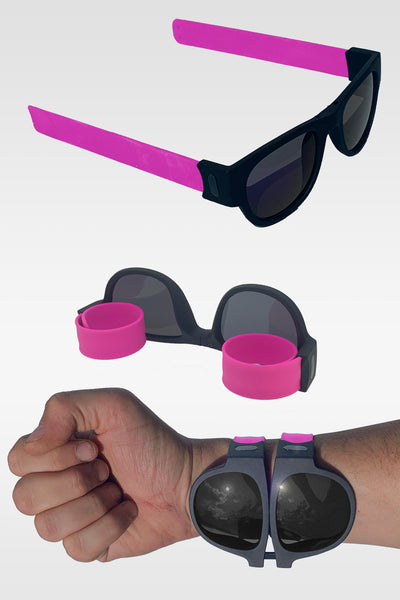 Folding Sunglasses with Slap Bracelet Arms - PINK ARMS / POLARIZED LENSES