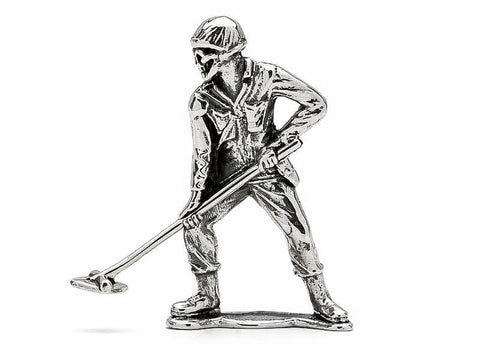 Skull Face Mine Sweeper Silver Army Man