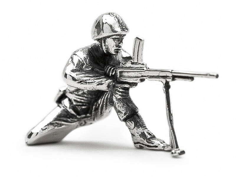 Classic Machine Gunner Silver Army Man