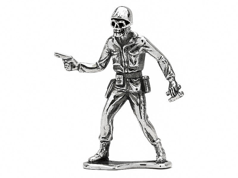 Skull Face Officer 1911 & Binos Silver Army Man